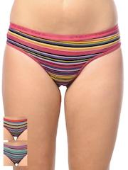 Lady Lyka Women Multicoloured Pack of 3 Striped Briefs