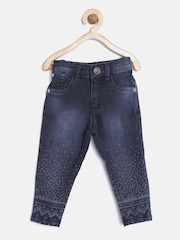 Palm Tree by Giny and Jony Girls Navy Washed Printed Denim Jeggings