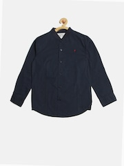 Palm Tree Boys Navy Solid Casual Shirt