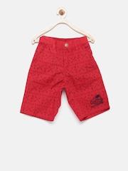 Palm Tree Boys Red Printed Shorts