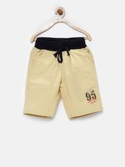 Palm Tree Boys Beige Solid Regular Fit Shorts