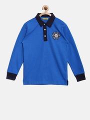 Gini and Jony Boys Blue Solid Polo Collar T-shirt