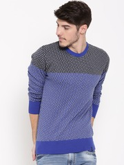 United Colors of Benetton Men Blue & Grey Melange Patterned Sweater