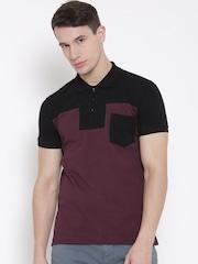 United Colors of Benetton Men Black Colourblocked Polo Collar T-shirt