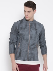 United Colors of Benetton Grey Washed Faux Leather Jacket