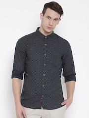 United Colors of Benetton Men Black & Grey Linen Printed Smart Casual Shirt