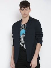 Replay Navy Single-Breasted Casual Blazer