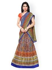 Saree mall Multicoloured Printed Semi-Stitched Lehenga Choli with Dupatta