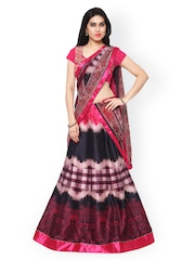 Saree mall Pink & Black Printed Semi-Stitched Lehenga Choli with Dupatta