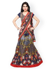 Saree mall Multicoloured Printed Semi-Stitched Lehenga Choli with Dupatta