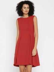 Park Avenue Women Red Solid Skater Dress