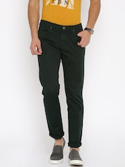 Pepe Jeans Men Black Solid Slim Fit Flat-Front Trousers