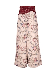 CUTECUMBER Girls Beige Printed Palazzo Trousers