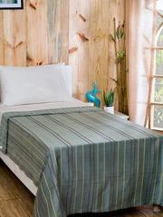 MASPAR Green Cotton Striped Single Bed Cover