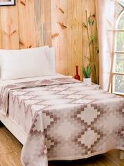 MASPAR Brown Cotton & Viscose Woven Single Bed Cover