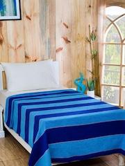 MASPAR Blue Cotton & Viscose Striped Single Bed Cover