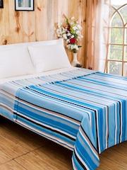 MASPAR Blue Cotton & Viscose Striped Double Bed Cover