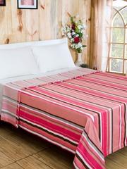 MASPAR Pink Cotton & Viscose Striped Double Bed Cover