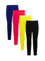 naughty ninos Girls Pack of 4 Ankle-Length Leggings