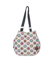 Pick Pocket Black & White Printed Shoulder Bag with Pom-Pom Detail