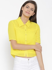 Vero Moda Women Yellow Solid Casual Shirt