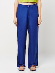 Global Desi Blue Smart Fit Palazzo Trousers