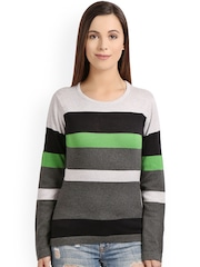 Manola Women Grey Striped Regular Top