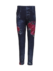 CUTECUMBER Girls Navy Floral Print Ankle-Length Jeggings