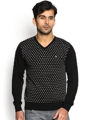 Blackberrys Men Black Patterned Sweater