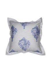 MASPAR Grey & Blue Printed 26 x 26 Square Pillow Cover