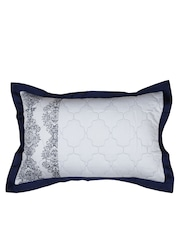 MASPAR White & Navy Printed 20 x 30 Rectangular Pillow Sham