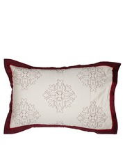 MASPAR White & Maroon 20 x 30 Rectangular Pillow Sham