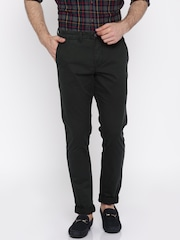 Jack & Jones Men Black Solid Slim Fit Flat-Front Trousers
