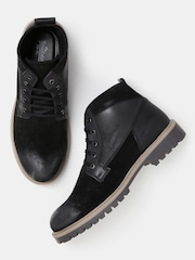 Roadster Men Black Solid Mid-Top Sneakers