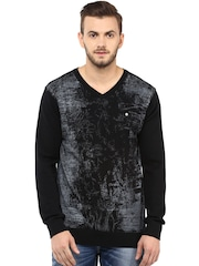 SPYKAR Black & Charcoal Grey Sweater