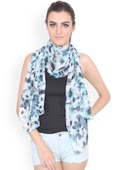J Style Blue & Off-White Floral Print Scarf