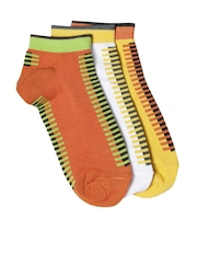DressBerry Women Set of 3 Striped Patterned Ankle-Length Socks