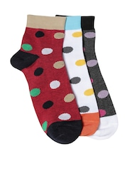DressBerry Women Set of 3 Polka Dot Pattern Ankle-Length Socks