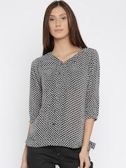 Park Avenue Women Black & Off-White Printed Top