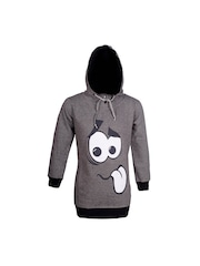 naughty ninos Girls Grey Printed Hooded Sweatshirt