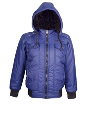 naughty ninos Boys Blue Hooded Bomber Jacket