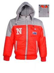 naughty ninos Boys Red & Grey Hooded Reversible Colourblocked Bomber Jacket