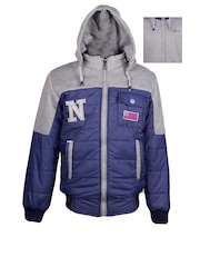 naughty ninos Boys Blue & Grey Hooded Reversible Colourblocked Bomber Jacket