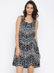 ONLY Women Black & Blue Printed Fit and Flare Dress