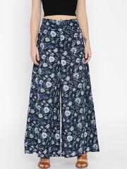 Desi Weaves Women Blue Floral Print Palazzo Trousers