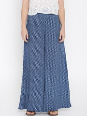 Desi Weaves Women Blue Checked Palazzo Trousers