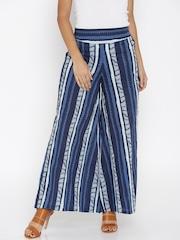 Desi Weaves Women Blue Printed Palazzo Trousers