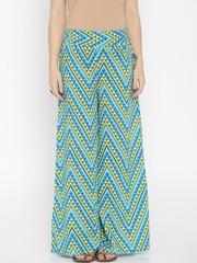 Desi Weaves Women Blue & Green Printed Palazzo Trousers