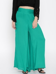 Desi Weaves Women Teal Green Solid Palazzo Trousers