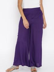 Desi Weaves Women Purple Solid Palazzo Trousers